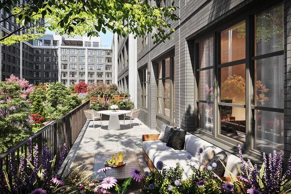 能够接触大自然可能会成为重点:Front & York公寓的透视图,这是莫里斯·阿吉麦建筑师事务所设计的新公寓大楼,展示了由麦可·范·瓦尔肯伯设计的单位,中心是2300平方米的庭院花园。