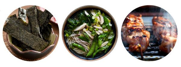 左起:蘸芝麻油的海苔、春雞味噌湯、姜蒜和醬油烤制的雞肉串。