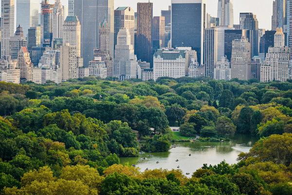 俯瞰中央公园东南角。